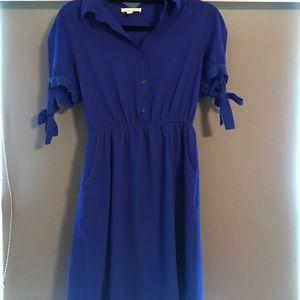 Blue Half Button Dress